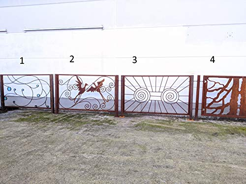 Zen Man Edelrost Gartenzäune Metallzaun Eisenzaun Schmiedezaun zaunelemente Metall Rost Handarbeit Total L145cm(135+5+5),Total H90cm (80+10) (Muster 1)