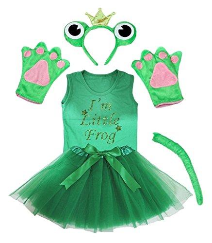 Petitebelle Corona diadema Bowtie Guantes de cola camisa del traje de la muchacha de la falda 6pc 3-4 años Rana
