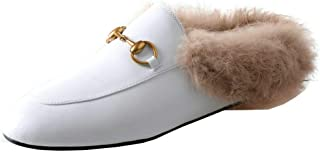 Women Faux Fur Mules Flat Leather Backless Loafers Slip On Outdoor Slippers