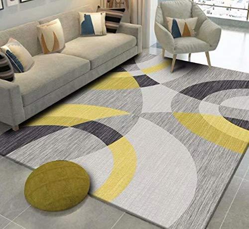 Alfombra amarilla y gris con diseño de círculos para sala
