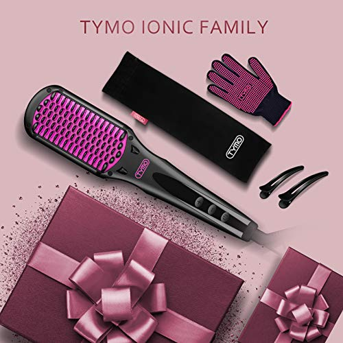 TYMO Ionic Hair Straightener Brush - Enhanced Ionic Straightening Brush with 16 Heat Levels for Frizz-Free Silky Hair, Anti-Scald & Auto-Off Safe & Easy to Use