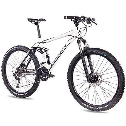 Chrisson Bicicleta de montaña Fully Hitter FSF de 27,5 pulgadas, en color blanco y negro, bicicleta de montaña con 30 velocidades, cambio de piñón Shimano Deore, bicicleta de montaña para hombre y mujer con horquilla Rock Shox