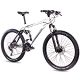 CHRISSON 27,5 Zoll Mountainbike Fully - Hitter FSF Weiss schwarz - Vollfederung Mountain Bike mit 30...