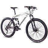 CHRISSON Fully Hitter FSF - Bicicleta de montaña (27,5 Pulgadas, suspensión Completa, Cambio Shimano Deore de 30 velocidades, Horquilla Rock Shox), Color Blanco y Negro