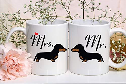 N\A Dackel Paar Tasse Dackel Herr und Frau Hers und Seine Kaffeetassen Hochzeit GIF Jubiläum Brautpartys Paar Set Tassen Lustige Tasse