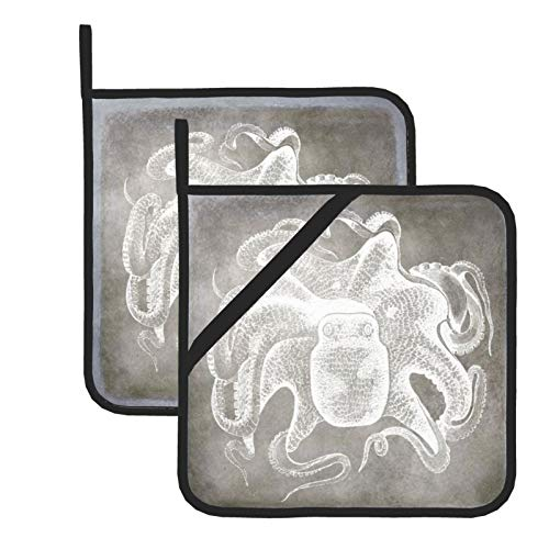 Pot Holders for Kitchen,Coastal Watercolor Octopus Silver Pewter Neutral Heat Resistant Square Pot Holder Trivet Cooking Baking Dual-Function Hot Pad, 2-Piece
