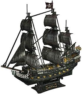 CubicFun Queen Anne's Revenge Pirate Ship Model Kit (with LEDs) 3D Puzzle, Large 340 Pcs, L520h