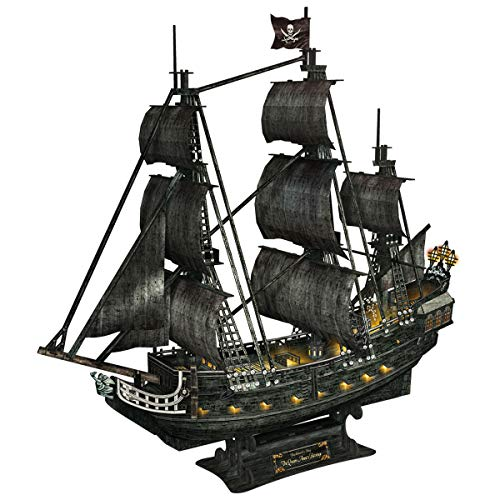 CubicFun Puzzle 3D Queen Anne's Revenge Kit de Modelo de Barco Pirata (con LED) Divertido Regalo para niños y Adultos, 340 Piezas Grandes