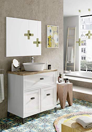 Badezimmer Set Toscana inkl. Keramik Waschtisch + Auszug Soft Close Landhaus Bad Möbel Waschtisch Unterschrank Bad Unterschrank