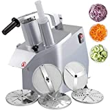 VBENLEM 110V Commercial Food Processor 2 Feeding Holes, 550W Electric Vegetable Slicer 1600 RPM, Stainless Steel Vegetable Processor Detachable 6-blades, 3mm/4mm/7mm Shred, 2mm/4mm Slice