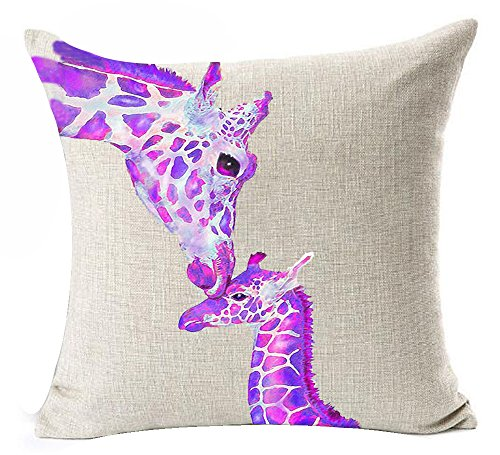 Queen's designer Creative Warm Purple Violet Ink Giraffe And Its Mother Cotton Linen Decorative Throw Pillow Case Cushion Cover Square 18'X18'