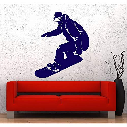 Snowboarder Extreme Sport Vinyl Muursticker voor Kids Slaapkamer Snowboarden Stickers Home Room Decoratie Muurstickers Sport 56x67cm