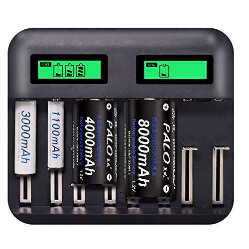 Nicoone Cargador de batería AA AAA C D con cable USB, cargador rápido USB de 8 ranuras con pantalla LCD para batería recargable D/C/AA/AAA, función de prevención de sobrecarga