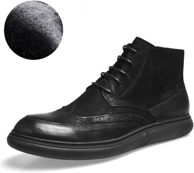 Y -H Mans Casual skor s, Fall Winter läder Flat Flat Flat Deck skor Cotton stövlar H ög -Top Slip -Ons Verktygskuts Lace -up Martines stövlar (Färg  B, Storlek  40)  försäljning online