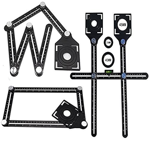 Herramienta de medición de ángulo, tres tipos de herramientas para medir la altura del ángulo, regla multifunción, para azulejos, carpintería, carteles de trabajo (dos agujeros)