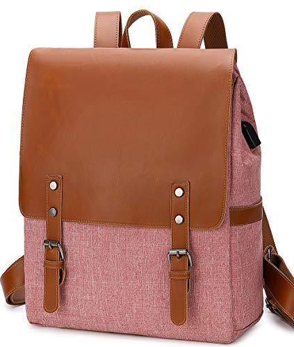 BLUBOON Rucksack aus Leder, Vintage, 39,6 cm (15,6 Zoll) Laptoprucksack, USB, für Reisen, Schulranzen, Damen, Herren, Studenten, Büchertasche, rose (Rot) - BLU-123