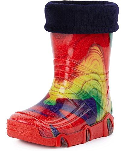 Ladeheid Botas de Agua Para Niños Swk 19 (Multicolor Rainbow, 33/34)