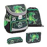 Belmil ergonomischer Schulranzen Set 4 -teilig für Jungen 1, 2 Klasse Grundschule/Super Leicht 750-800 g/Brustgurt/Dinosaurier, Dinosaur, Dino/Grün, Green (405-33 World of Dinosaurs)