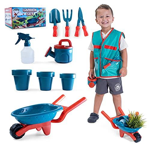 JoyKip Juego de jardinería para niños con carretilla pequeña, pala, regadera y otros accesorios de jardinería para niños y niñas, juguete de verano perfecto a partir de 4 años