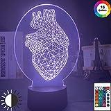 KangYD Diseño de triángulo de corazón de luz nocturna 3D, lámpara de ilusión óptica LED, A - Touch negra Base (7 colores), Lámpara de ilusión, Decoración de la habitación