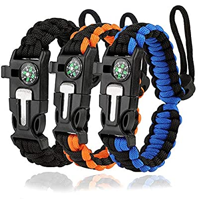 WEREWOLVES Survival Paracord Bracelets,Professional Personal EDC Tactical Bracelet,Multifunction Camping Hiking Gear with Compass, Fire Starter, Whistle and Emergency Knife (Adjustable - 3Pack)