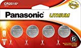 Panasonic CR2016 3.0 Volt Long Lasting Lithium Coin Cell Batteries in Child Resistant, Standards Based Packaging, 4 Pack