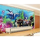 Equipo de vida Decoración de la habitación de los niños Papel tapiz 3D Mundo submarino Acuario 3D Estéreo Dolphin Coral Tv Papel tapiz de pared Mural