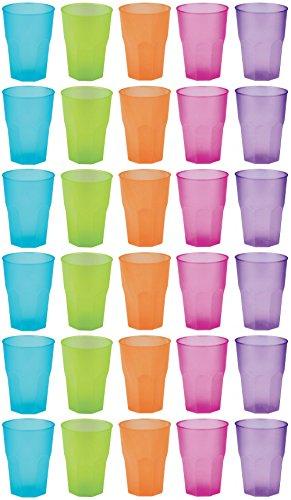 idea-station Kunststoff-Becher 30 Stück, 350 ml, bunt, farbig, mehrweg, bruchsicher, stapelbar, Party-Becher, Plastik-Becher, Mehrweg-Becher, Wasser-Gläser, Trink-Gläser