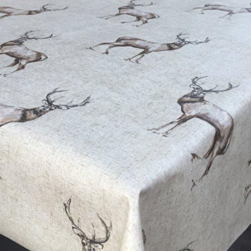 Franclaire Fabrics Rond – Facile à Nettoyer de cerf Mat Nappe en PVC – 130 cm de diamètre