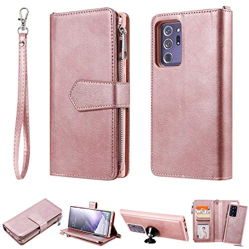 CHENDX Custodia per Samsung Galaxy Note 20 Ultra, 2 in 1 PU Custodia a portafoglio in pelle, staccabile per smartphone con porta carte e cordino (colore : Rosegold)
