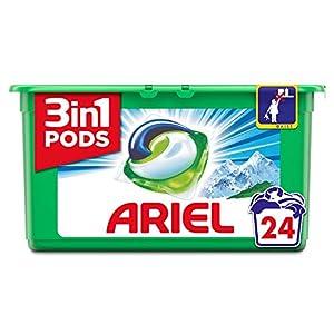 Ariel 3en1 Pods Detergente Cápsulas, Alpine, Limpieza Increíble, Limpia, Quita Manchas, Ilumina– 24Lavados