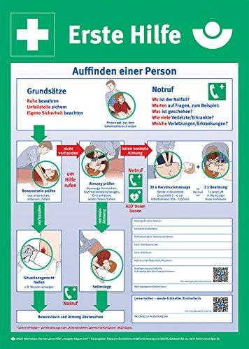 Aktuelle DGUV Erste Hilfe Anleitung aus Kunststoff - Aktuelle Erste Hilfe Aushang Stand August 2017