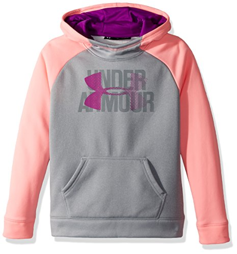 Under Armour Girls' Big logo hoodie, Overcast Gray (941)/Purple Rave, Youth Large