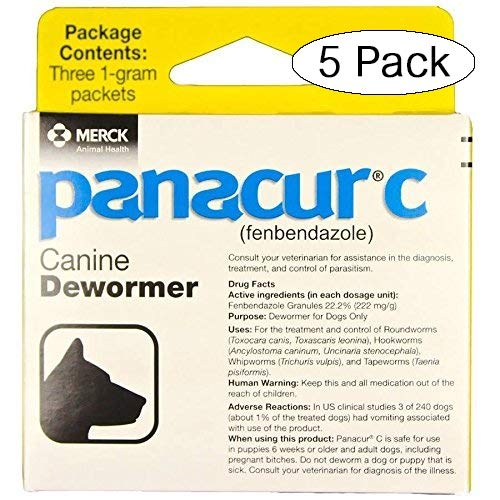 Panacur C Canine Dewormer Dogs 1 (3 Packets) Gram Each Packet Treats...