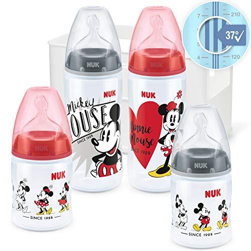 NUK 10225251 NUK Disney Mickey Mouse First Choice + Juego de iniciación de biberones, 4 biberones anticólicos (2 x 150 ml y 2 x 300 ml), multicolor, 459 g