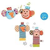 ThinkMax 4PCS Sonajeros para bebés, Sonajeros de muñeca de Terciopelo Lindo para...