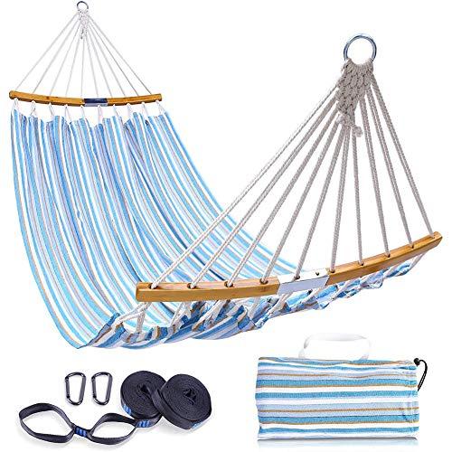 DNNAL Doppelhängematten-Schwingen, Folding Platzsparende Bambus-Hängematte mit Tragetasche, tragbare Hängematte für Terrasse, Garten, Strand, Camping