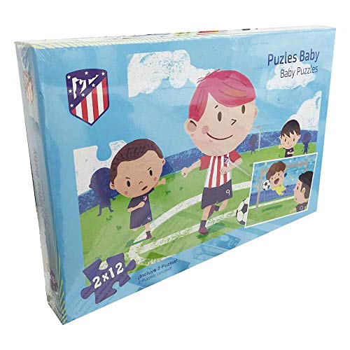ATLETICO DE MADRID Kick Off Games, Jigsaw Baby Puzzle 2 X 12 Standard (34324), Multicolor 1