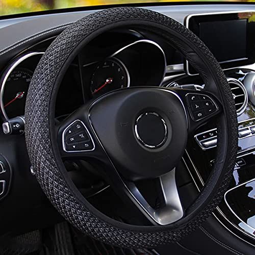 Universal Car Steering Wheel Cover, Microfiber Breathable Ice Silk, Anti-Skid, Warm in Winter and Cool in Summer, Steering Wheel Cover for Men and Women (Black)