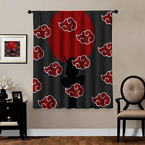 Blackout Curtains,Naruto Akatsuki Logo, Rod Pocket Thermal Insulated Darkening Window Drapes for Bedroom, Cute Animal Boys Girls Room Décor