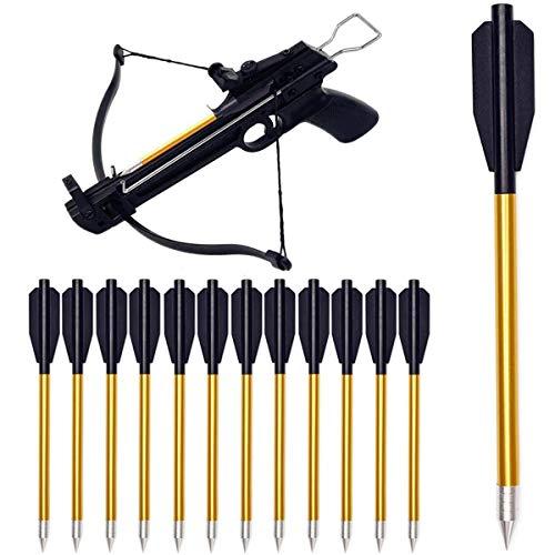 DZGN Mini Balestra in Alluminio da 6,3 Pollici Frecce Frecce per Balestra per Pistola Balestra da 50 libbre / 80 libbre Bersaglio di precisione Tiro con L'Arco da Caccia,12 Pack