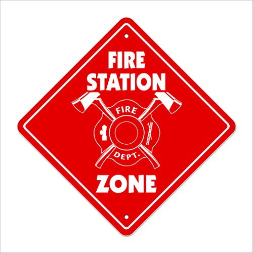 "Fire Station Crossing Sign Zone Xing | Indoor/Outdoor | 12"" Tall Plastic Sign chief fighter truck ladder hose"