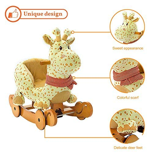 Labebe Baby Schaukelpferd Holz, 2-in-1 Schaukelpferd mit Räder, Schaukeltier Giraffe Gelbe für Baby 1-3 Jahre Alt, Schaukel Pferd/Schaukel Baby/Schaukeltier Musik/Schaukel Kinder/Schaukel Spielzeug - 6