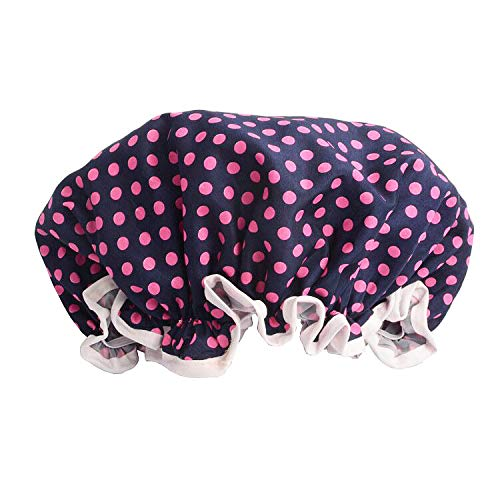 Rose Dots Shower Cap, Double-layer Waterproof Bath Hat for Women