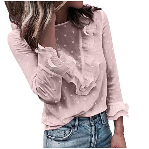SHOBDW Camisas y Blusas Mujer Floja para Mujer Camiseta Tops con Capucha Camisetas Mujer Manga Larga 2020 Otoñal del Invierno (S, W-Rosa 2)