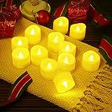 AMIR LED Kerzen, 12 LED Flammenlose Kerzen, Weihnachten LED Teelichter, Elektrische Teelichter Kerzen für Halloween, Weihnachten, Party, Bar, Hochzeit (Flicker Gelb) - 8