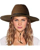 Womens Sun Hat with Wind Lanyard UPF Beach Packable Summer Cowboy Sun Straw Hats for Women Men