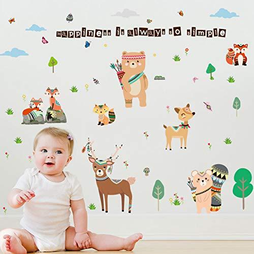 TAOYUE 157 * 110 cm Bande Dessinée Amical Animal Stickers Muraux pour Chambre D'enfants Ours Cerf Fox Forêt Animaux Home Decor pour Enfants Heureux Autocollant