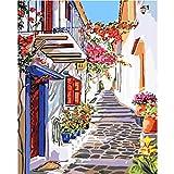 LKAZLL Paints by Numbers Scenery Fresh Town 40 x 50 cm, pintura al óleo por números, set de regalo para colorear por números, lienzo de pared
