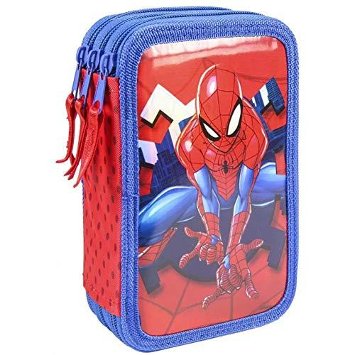 Cerdá, Estuche Plumier Triple con Rotuladores Giotto de Spiderman-Licencia Oficial Marvel Studios Unisex niños, Multicolor, 12.5 X 19.5 X 6.5 CM